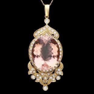 14k Gold 33.00ct Morganite 2.55ct Diamond Pendant