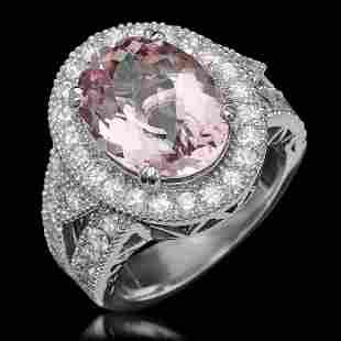 14K Gold 5.57ct Morganite 1.74ct Diamond Ring
