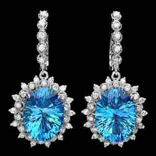 14k Gold 21.50ct Topaz 1.50ct Diamond Earrings