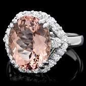 14k Gold 600ct Morganite 100ct Diamond Ring