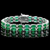 14k Gold 18ct Emerald 1.10ct Diamond Bracelet