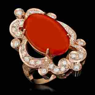14K Gold 9.46ct Coral & 1.25ct Diamond Ring