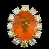 14k Yellow Gold 600ct Opal 250ct Diamond Ring