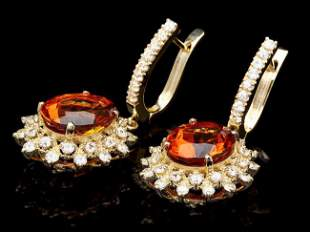 14k Gold 8.00ct Citrine 2.25ct Diamond Earrings