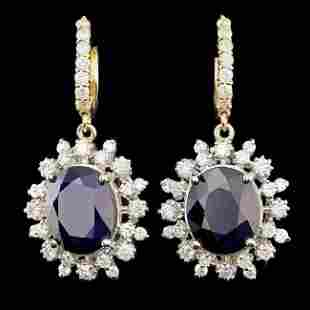 14k Gold 13.00ct Sapphire 2.25ct Diamond Earrings