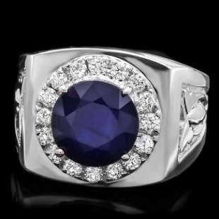 14k Gold 4.00ct Sapphire 0.60ct Diamond Mens Ring