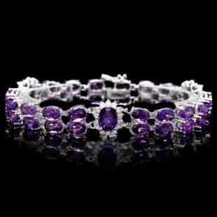 14k Gold 31ct Amethyst 1.40ct Diamond Bracelet