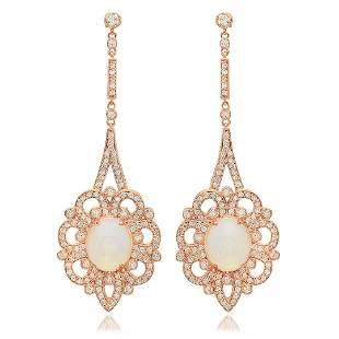 14K Rose Gold, 6.00cts Opal, 2.65cts Diamond Earring
