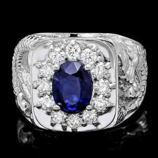 14k Gold 2ct Sapphire .90ct Diamond Mens Ring