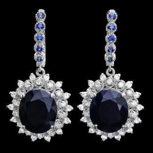 14k Gold 18.5ct Sapphire 1.50ct Diamond Earrings