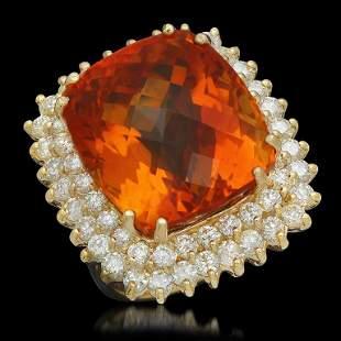 14K Gold 27.43ct Citrine 2.92ct Diamond Ring