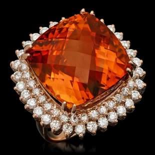 14k Gold 29.81ct Citrine & 2.10ct Diamond Ring