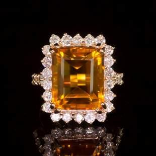 14k Gold 7.93ct Citrine 1.41ct Diamond Ring