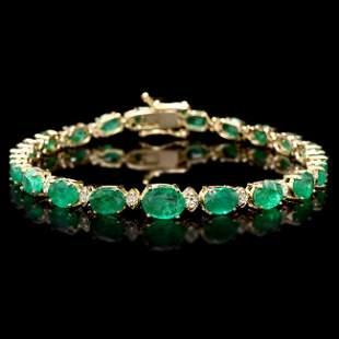 14k Gold 11ct Emerald 0.65ct Diamond Bracelet