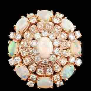 14k Rose Gold 3.00ct Opal 2.15ct Diamond Ring