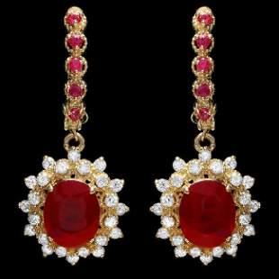 14k Gold 7.5ct Ruby 1.30ct Diamond Earrings