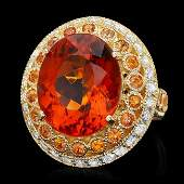 k Gold 10.00ct Citrine 1.00ct Diamond Ring