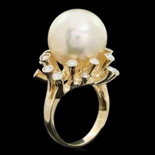 14k Gold 16 X 16mm Pearl 0.80ct Diamond Ring
