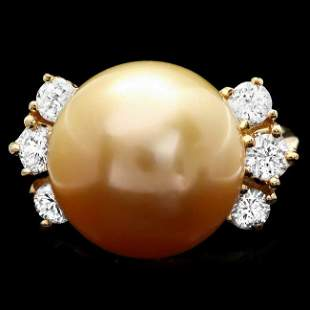 14k Gold 14 X 14mm Pearl 0.80ct Diamond Ring