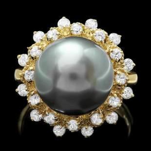 14k Gold 12 X 12mm Pearl 0.80ct Diamond Ring
