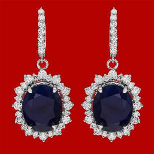 14k Gold 18.89ct Sapphire 3.12ct Diamond Earrings