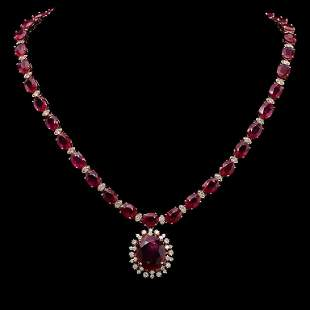 14K Gold 67.60ct Ruby & 2.55ct Diamond Necklace