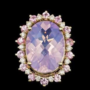 14k Gold 14.00ct Amethyst 0.70ct Diamond Ring