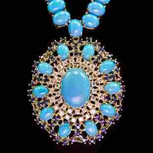 95.85ct Turquoise, 3.35ct Sapphire 1.78ct Diamond