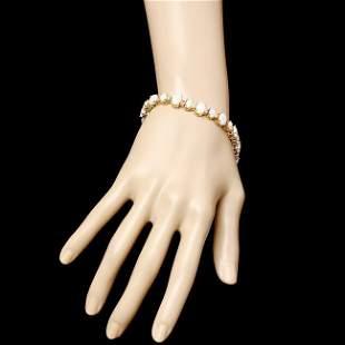 14k Yellow Gold 13ct Opal 0.85ct Diamond Bracelet