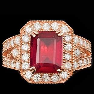 14k Rose Gold 4.00ct Ruby 1.30ct Diamond Ring