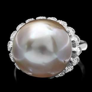 14k Gold 14 X 14mm Pearl 0.70ct Diamond Ring