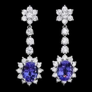 14k Gold 5ct Tanzanite 2.80ct Diamond Earrings