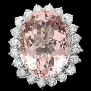 14k Gold 33.50ct Morganite 3.15ct Diamond Ring