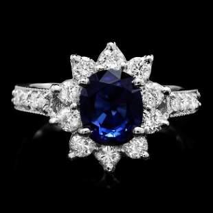14k Gold 2.50ct Sapphire 1.00ct Diamond Ring