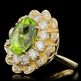 14k Gold 5.50ct Peridot 2.30ct Diamond Ring