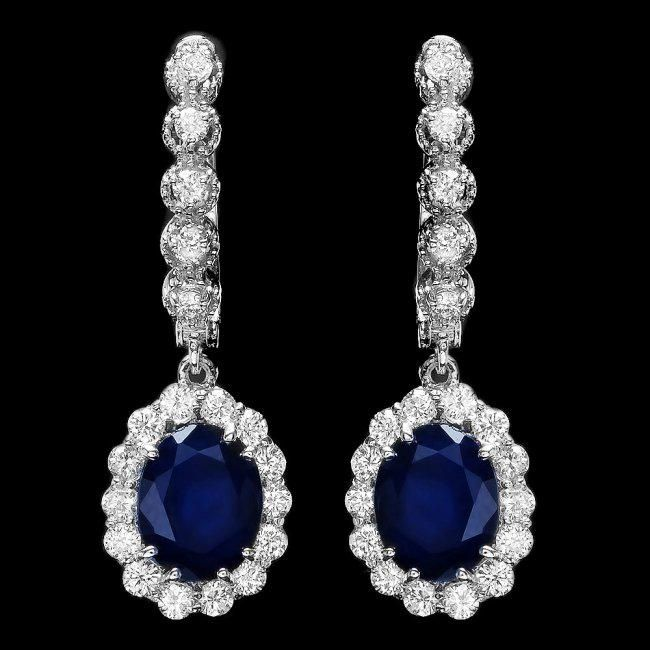 14k Gold 5.21ct Sapphire 1.26ct Diamond Earrings