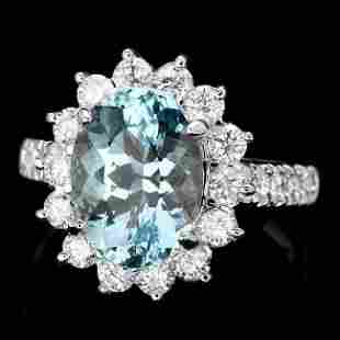 14k Gold 3.00ct Aquamarine 1.10ct Diamond Ring