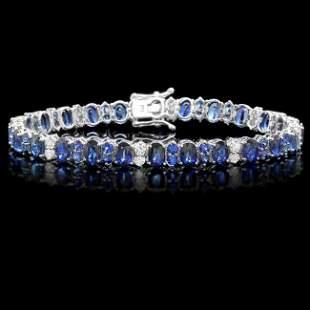 14k Gold 19ct Sapphire 1.35ct Diamond Bracelet