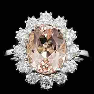 14k Gold 3.50ct Morganite 1.40ct Diamond Ring