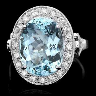 14k Gold 7.00ct Aquamarine 0.70ct Diamond Ring