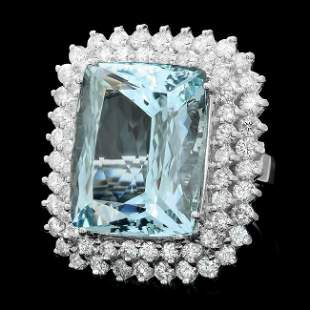 14k Gold 21.00ct Aquamarine 3.00ct Diamond Ring