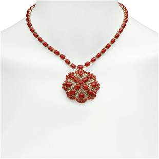 14K Gold 46.34ct Coral 3.12ct Diamond Necklace