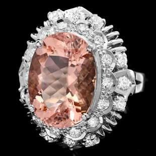 14k Gold 8.50ct Morganite 1.40ct Diamond Ring