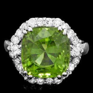14k White Gold 7.50ct Peridot 1.20ct Diamond Ring