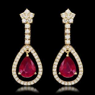 14k Yellow Gold 9.21ct Ruby 2.75ct Diamond Earrings