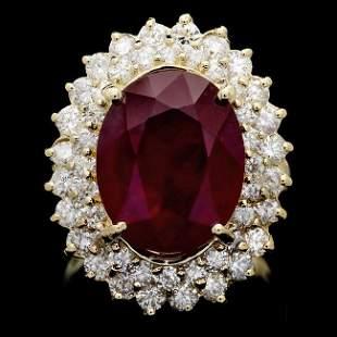 14k Yellow Gold 10.00ct Ruby 2.10ct Diamond Ring