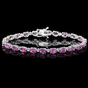 14k Gold 11ct Sapphire .35ct Diamond Bracelet