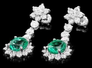 14k Gold 4ct Emerald 3.20ct Diamond Earrings