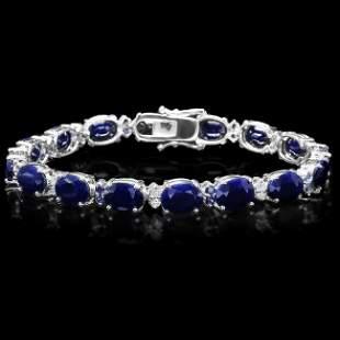 14k Gold 35ct Sapphire 0.70ct Diamond Bracelet