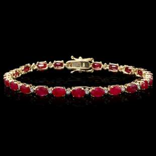 14k Gold 13.00ct Ruby 0.55ct Diamond Bracelet